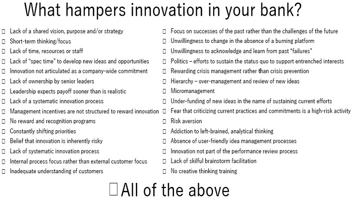 What hampers Innovation in your bank